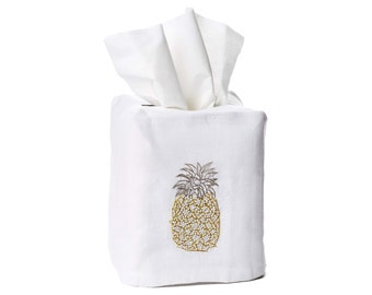 Hand Embroidered Pineapple - Linen Tissue Box Cover