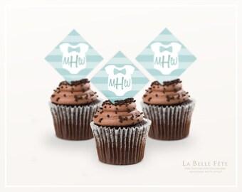MONOGRAM BABY ONESIE Blue Boy Cupcake Toppers printable