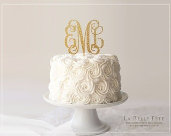 3-letter MONOGRAM CAKE TOPPER in gold glitter