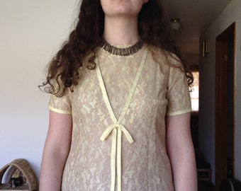 1960s Yellow Lace Shift Mini Dress / medium