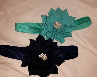 Infant/toddler baby flower headband with rhinestone center