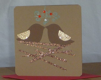 Rustic Christmas Card two birds kissing