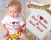 I Love my Aunt and Uncle Bodysuit, My Aunt Loves Me, I love My Aunt, I Love My Uncle, Baby Girl Aunt and Uncle Shirt, Auntie Shirt