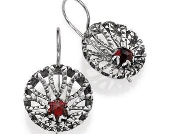 Sterling Silver With Garnet Stones Earrings Star Flower
