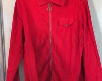 Vintage 1960s 70s Red Cotton needlecord St Michael Shirt Blouse Mod 12 14 Zip