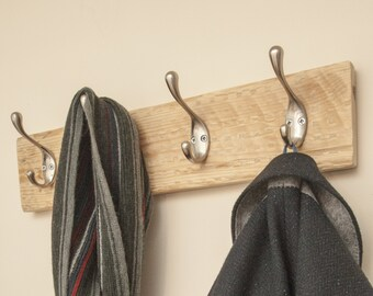Limited edition handmade reclaimed wood wall coat rack with wall hooks, prefect entryway organiser