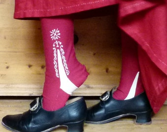 Stockings 100% cotton handpainted, made to measure. 18th century, replica, rococo, baroque, empire