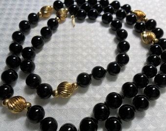 """14k Solid Gold Black Onyx Beaded Necklace 25"""""""