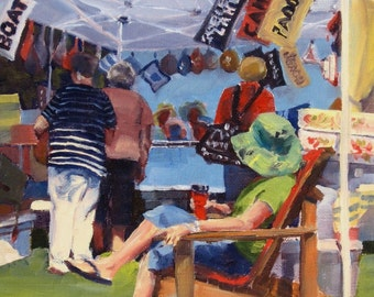 Small Art - Rosseau Market 8x10  - Oil Painting - SHIPPING Included