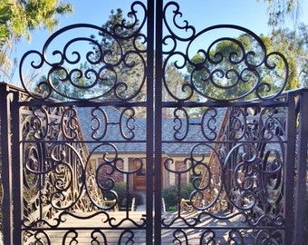 Iron Gates, wrought iron, hand-forged, entry gate.