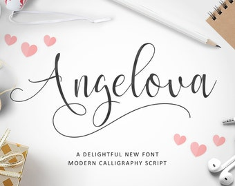 Angelova - Digital fonts. Download this handwritten font. Can be used as an digital installable font. Perfect as a wedding font or for craft