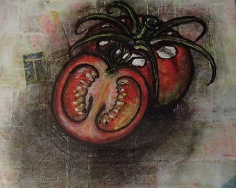 Tomatoes Painting Mixedmedia and Collage Original-Tomates médias mixtes-peinture sur collage