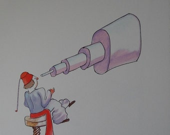 Antoine de Saint Exupéry: The little Prince and the astronomer, lithograph signed