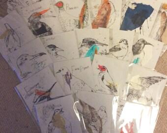 A-Z Birds. Original Monoprints