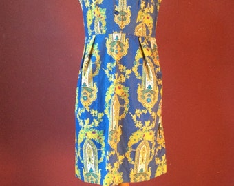1960s Cornflower Blue Baroque Novelty Print Shift Dress