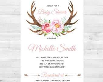 Baby Shower Invitation Girl, Antler Baby Shower Invitation, Floral Baby Shower Invitation, Watercolor Baby Shower Invitation