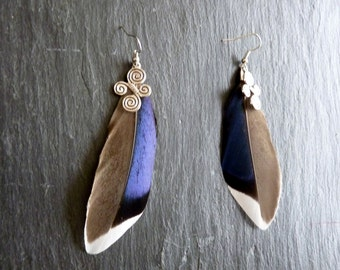 Earrings natural feathers of Mallard, charm celthique-