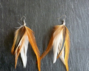 Earrings coq - ethnic and natural - Style Country and colorful feathers
