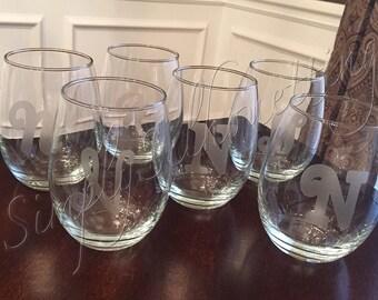 Vinyl Initial Wine Glasses