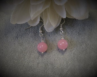 Pink Quartz Bead Earrings with Silver Ear Wires