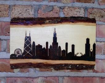 Chicago Skyline Wood Burning