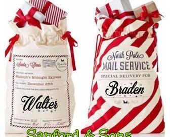 Personalized Santa Sack, Santa Bag, Christmas stocking, Christmas,Add your childs name, Large Santa Sack 19 x 27,