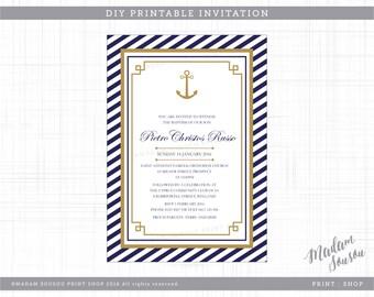 NAUTICAL NAVY, GOLD + Stripes  printable christening / baptism / birthday invitation