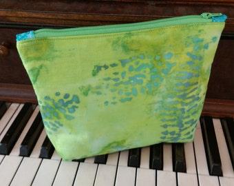 Green and Blue Batik zippered pouch