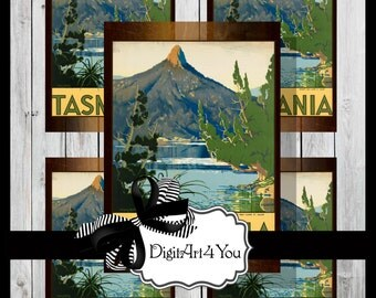 Greeting Card /Tasmania/Mountain/Australia/Digital Download/Printable Card/5 x 7/3.5 x 5/Blank Card/8x10/Vintage/Retro/Vintage
