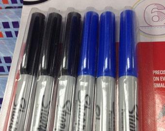 Sharpie Marker Ultra Fine 3 Black + 3 Blue Set For Scrapbooking Use Or For School, College, University Use