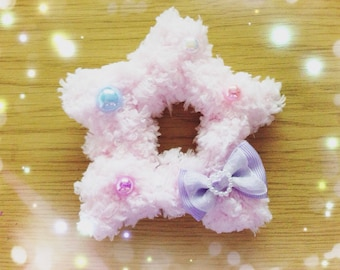 Kawaii Fairy Kei Fluffy Star Hair Clip, Sweet Lolita, Soft Decora, Pastel Kei, Harajuku etc inspired