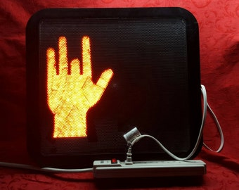 Upcycled Jerry Garcia Hand Crosswalk Led Sign Grateful Dead