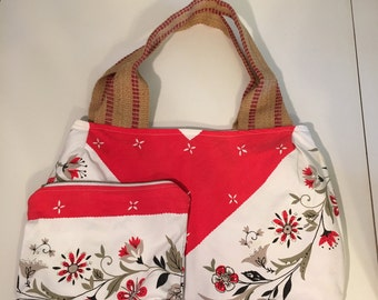 1950's Vintage Fabric Tote with Matching Cosmetic Bag