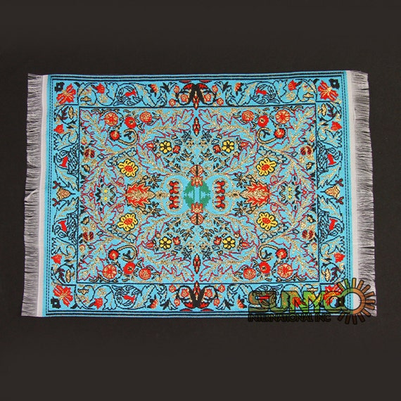 Miniature Rugs Oriental Sky Blue Gold Woven Mouse Pad Persian