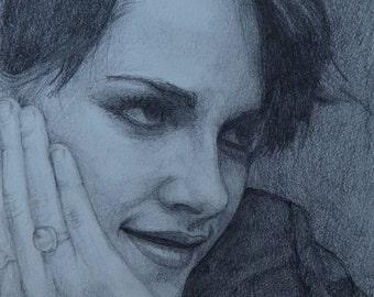 Kristen Stewart Pencil Portrait Signed