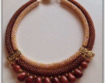 Golden Sands Beaded necklace with natural stone