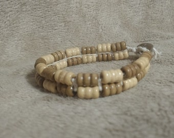 Wood bead hemp bracelet