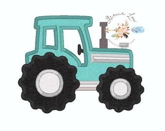 Tractor Embroidery design, tractor applique design, farm embroidery design