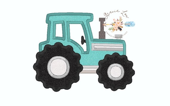 Tractor embroidery design applique farm