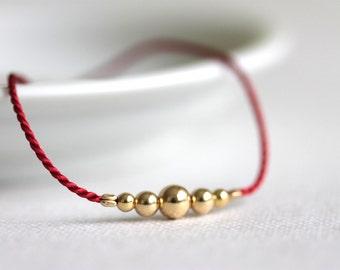 Delicate Silk Bracelet, Gold Filled Beads, Red Gold, Friendship Bracelet
