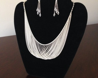 Sterling Silver multi-chain necklace and earring set