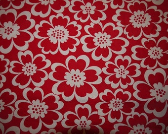 Curtains - Length - Fabric - Smashing Red - White Flower - Sweden - 70s - RETRO