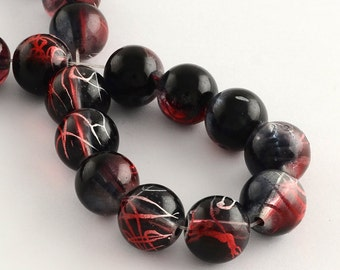 1 Strand Round Glass Drawbench Beads 4mm Black/Red (B12)