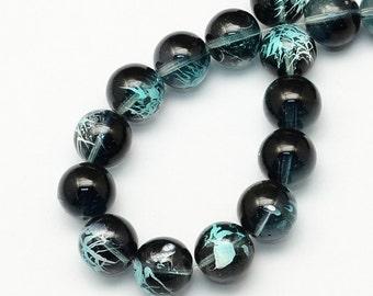 1 Strand Round Glass Drawbench Beads 4mm Black/Turquoise (B12f)