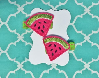 Pink watermelon set of clips / barrettes for girl