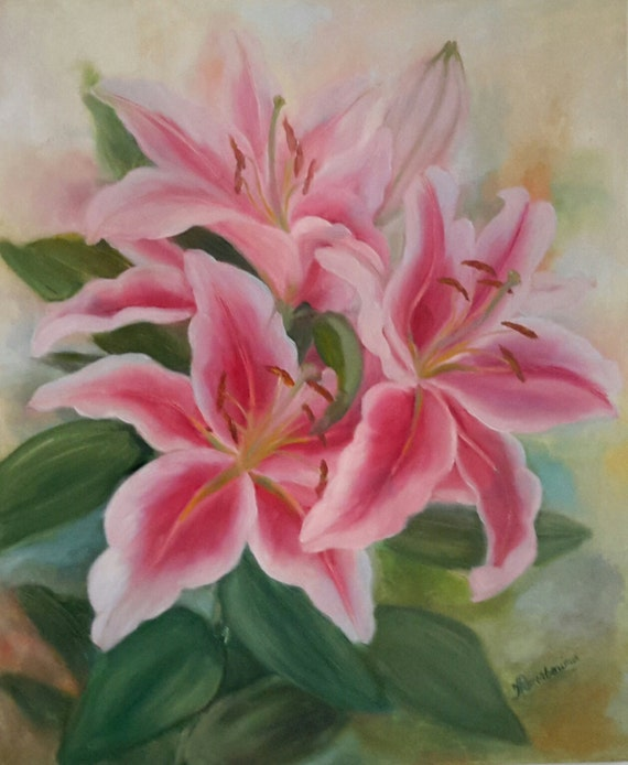 items similar to oil paintingpink lily oil painting on etsy