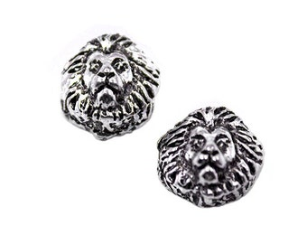 6 Silver Lion European Bead Charms | Silver Lion Charm, Lion Pendant, Lion Charms, Small Lion Charm, Animal Bead Charms