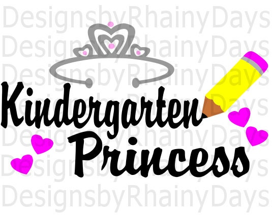 Buy 3 get 1 free! Kindergarten princess cutting file, back to school, SVG, DXF, png design