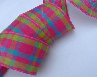 2.5 inch Wired Ribbon ~ Wired Spring Ribbon, Easter Ribbon, Ribbon for Wreaths, Easter Basket Ribbon ~ 5 Yards