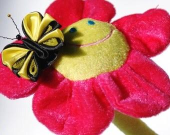 brooch with butterfly, brooch,  brooch kanzashi, kanzashi, butterfly, kanzashi butterfly, gift, free shipping